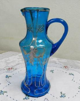 Glass Jug - blue glass - 1930