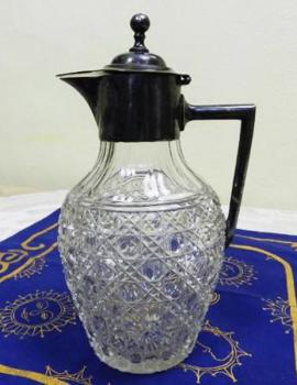 Glass Jug - tin, clear glass - 1880