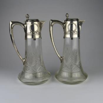 Glass Jug - clear glass, silver - 1900